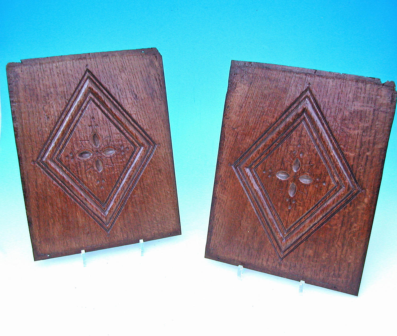 A Fine Pair Of 17thc Oak Carved Panels From An English Coffer. C1640