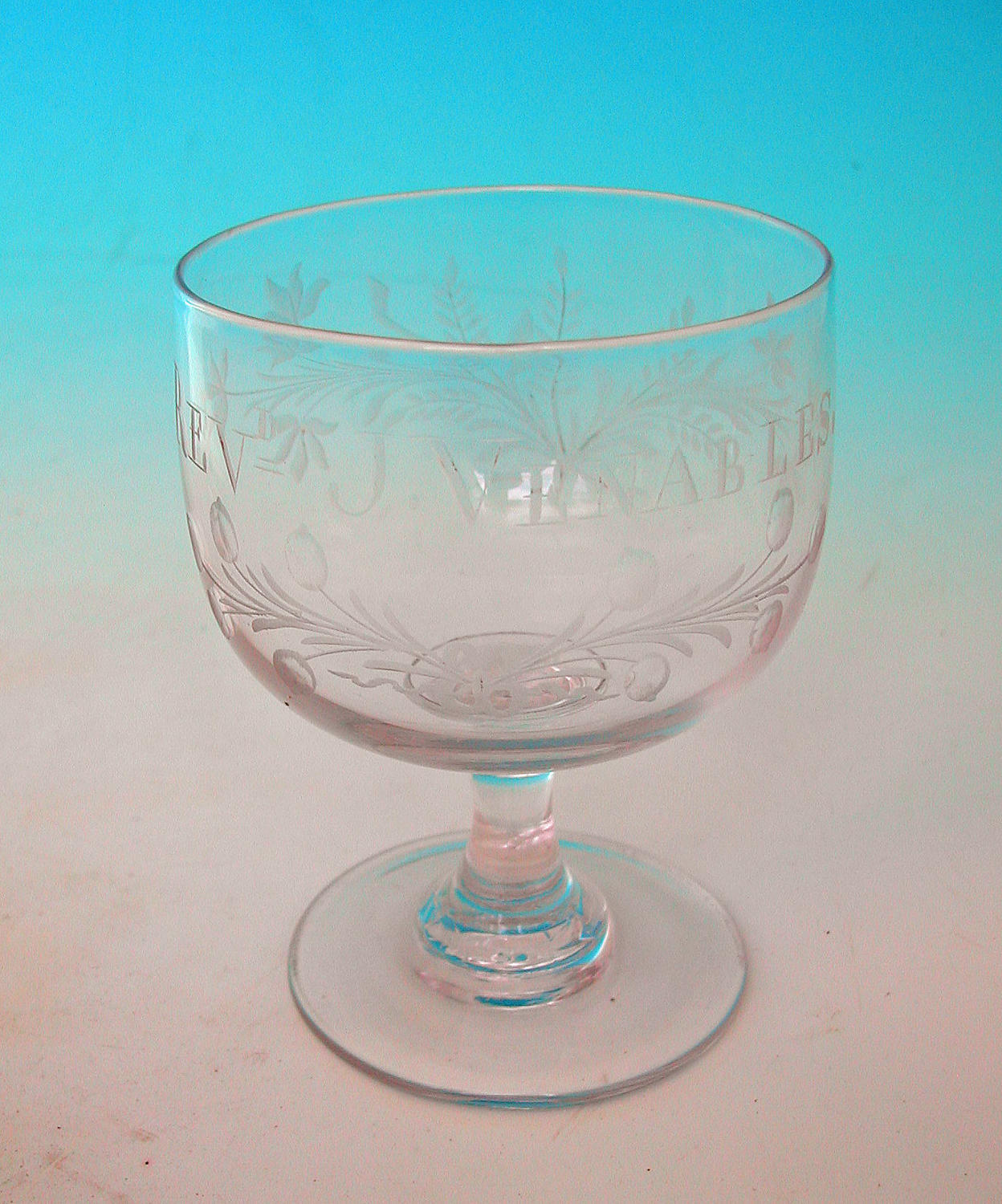 Antique 19thc Mead Glass Engraved Revd J. Venables. English. C1820-40