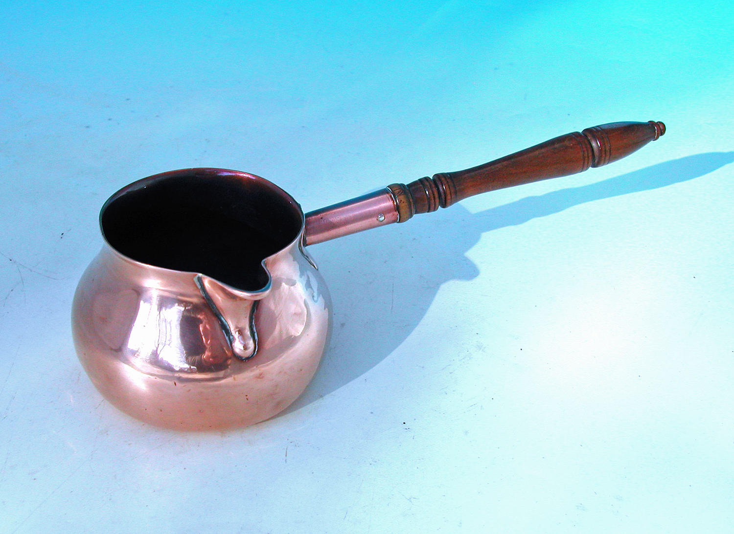 Antique Mid 18thc Copper Brandy-Warmer With Turned Fruitwood Handle.