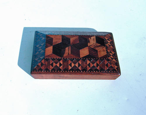 Antique Treen 19thc Tunbridgeware Paperweight Gifted By Duchess