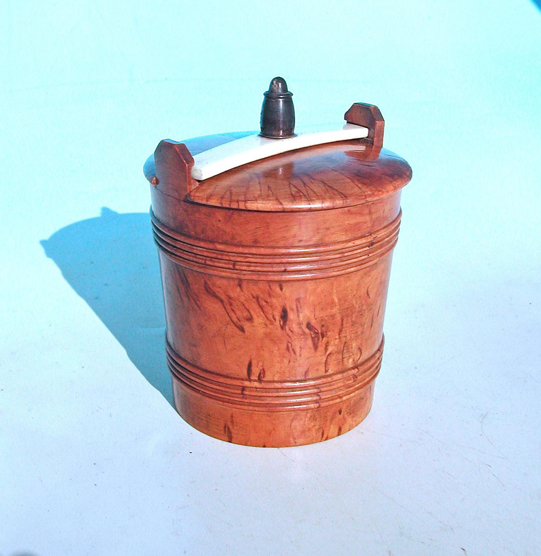 Antique 19thc Treen Lidded Spice / Dry Storage Pot.    Scandinavian.