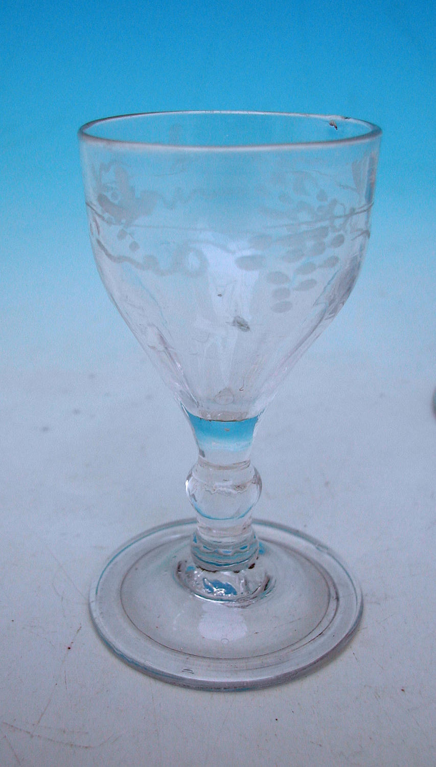 18thc Engraved Faceted Ogee Shaped Wine Glass. English. C1730-40.