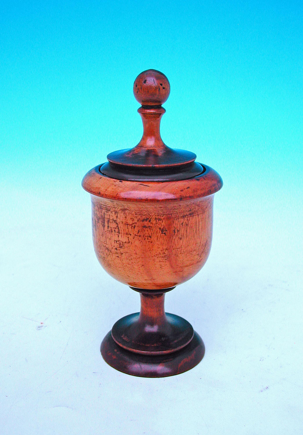 Antique Treen 19thc Fruitwood Pedestal Lidded Spice Pot.English. C1800