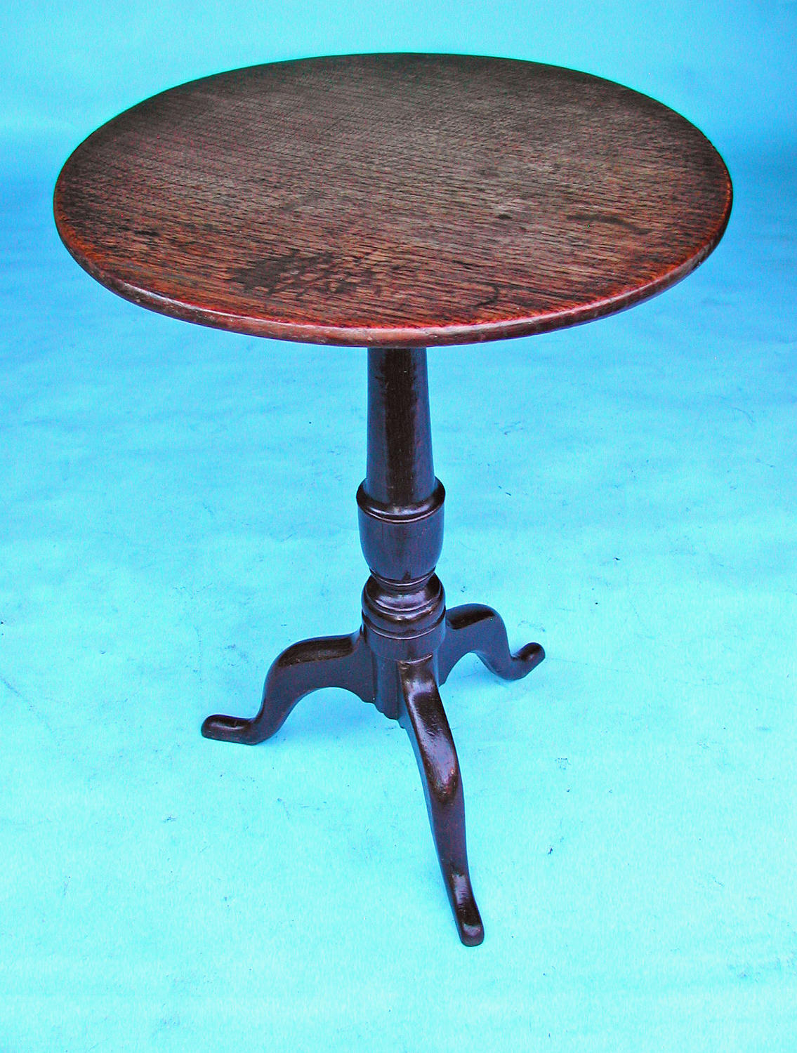 18thc Furniture Oak Tripod Table With One Piece Top.English C1760-70
