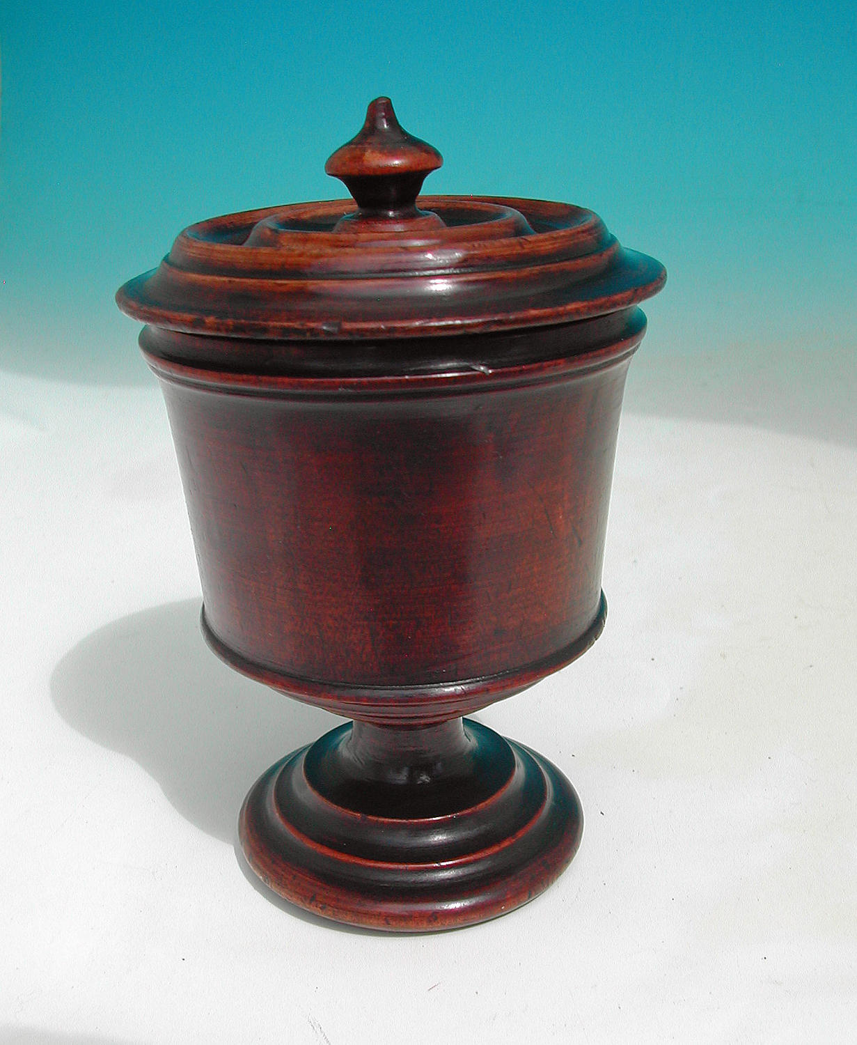Antique 18thc Walnut Lidded Spice Jar. English. 1740-60.