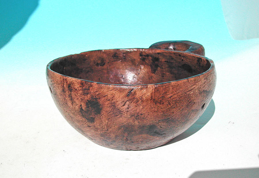 Antique 19thc Birch Dug Out Food Bowl With Side Handle. Scandinavian.
