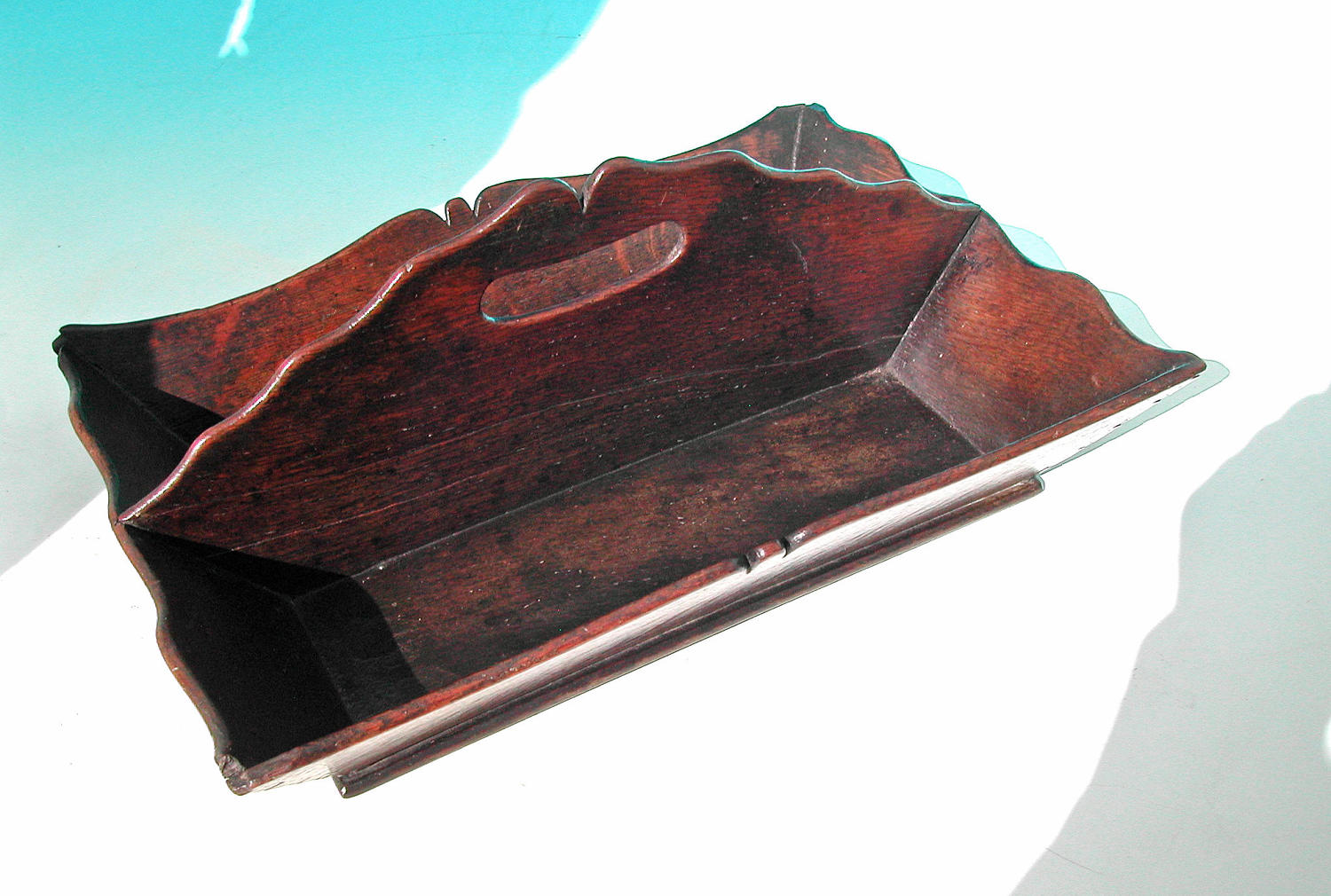 Antique 18thc Oak Shaped Cutlery Tray. English. C1770-90.