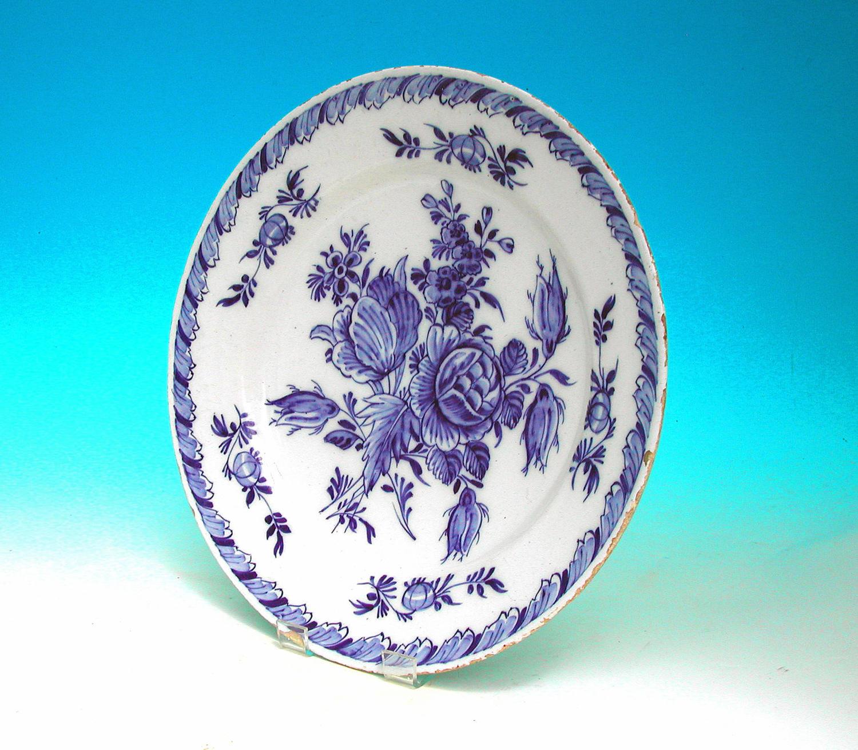Antique Mid 18thc Pottery Blue & White Delftware Plate.  Dutch. C1770