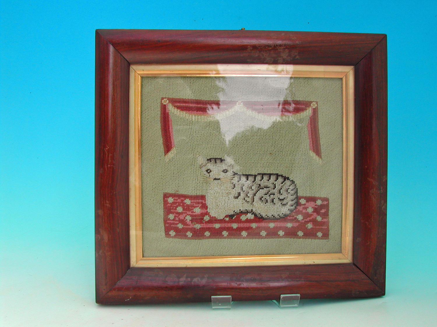 Antique Needlework 19thc Picture Of A Smiling Cat.  Welsh. C1840-60.