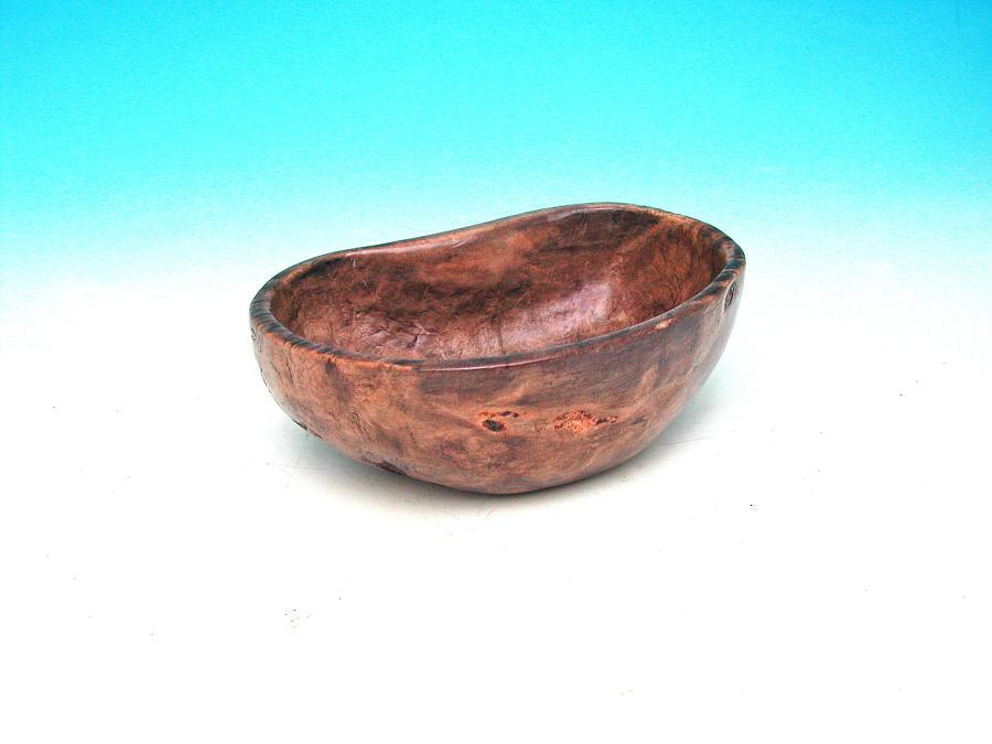 Antique Treen 19thc Birch Dug Out Bowl Dated 1877. Scandinavian .