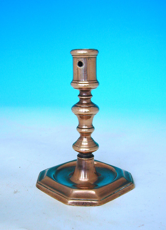 Antique Metalware 17thc Brass Single Candlestick. German. C1680-90.