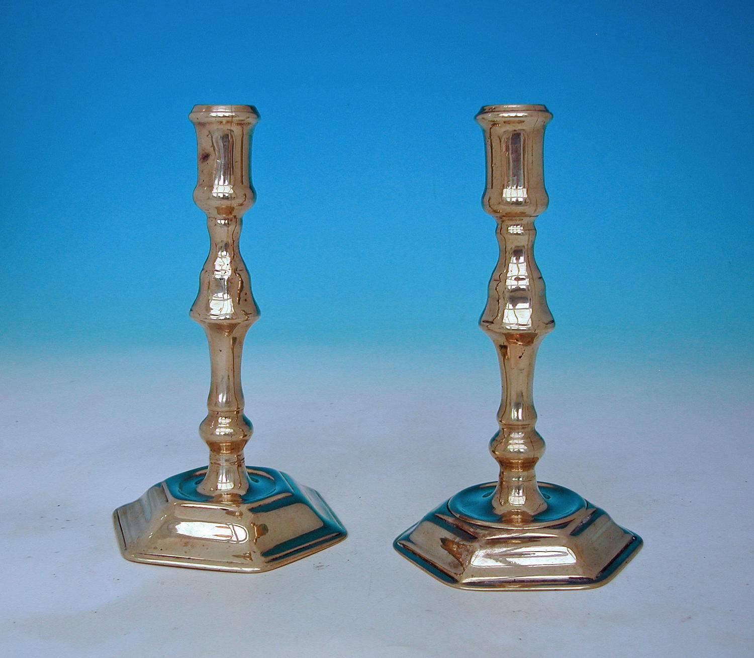Antique Metalware 18thc Brass Candlesticks. English C1715-20