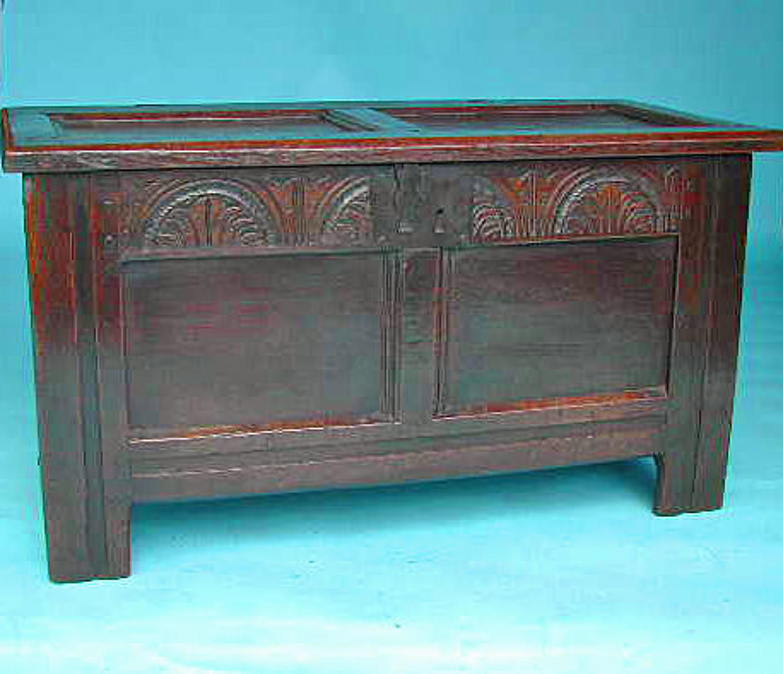 17thc Period Oak Furniture  Small Joyned Coffer. English. C1640-50.