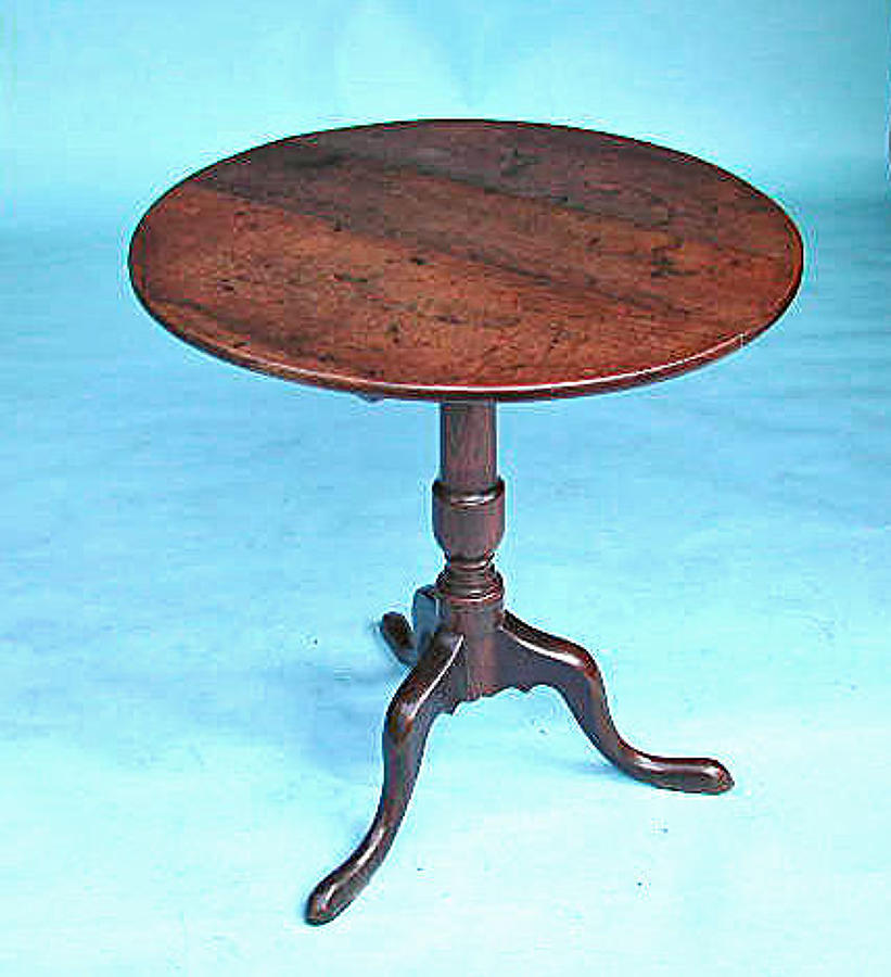 Antique Furniture 18thc Oak Tripod Tilting Table. English. C1770-80.
