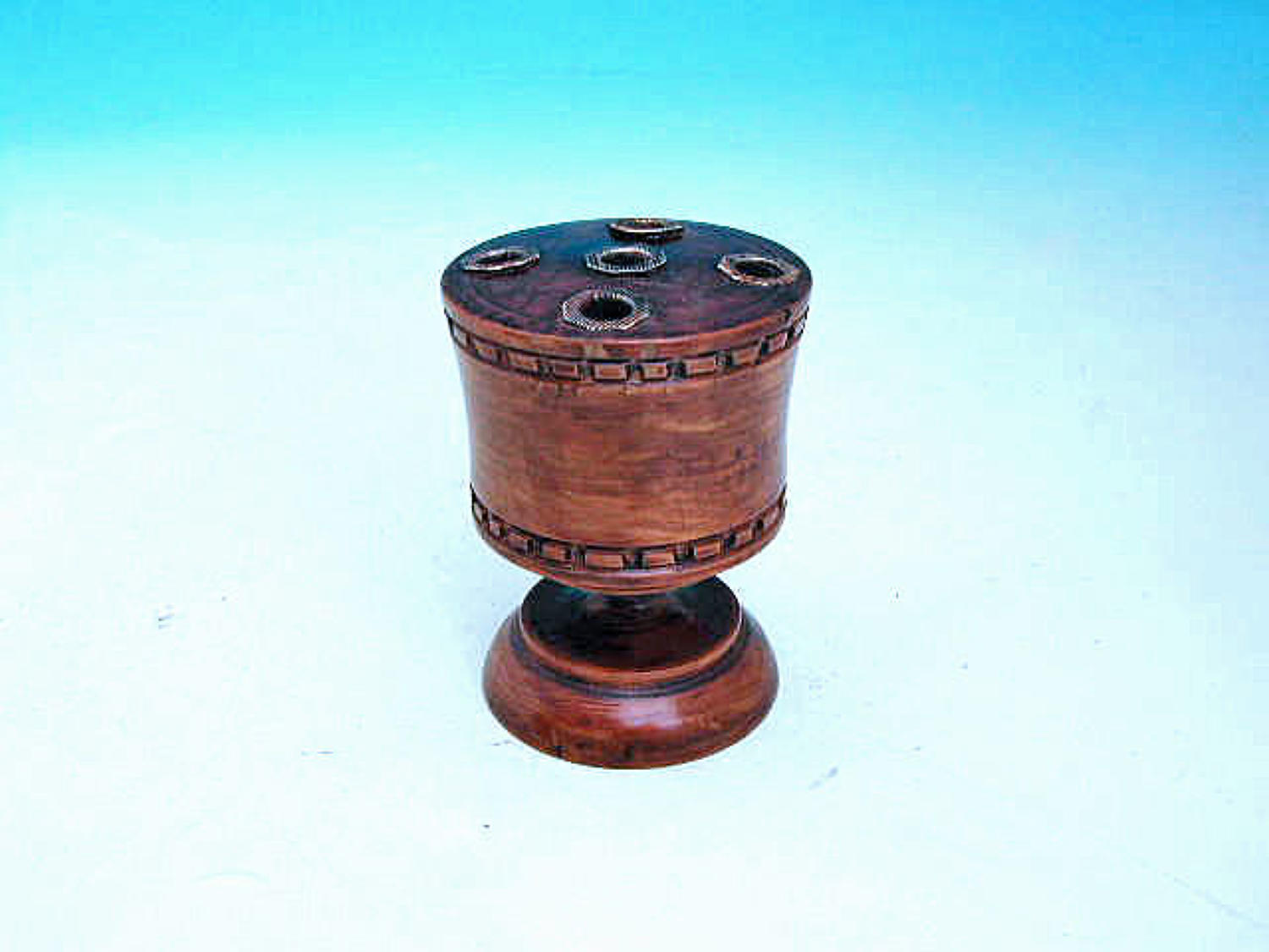 Antique Treen 19thc Turned Quill Holder.  English. C1860-70