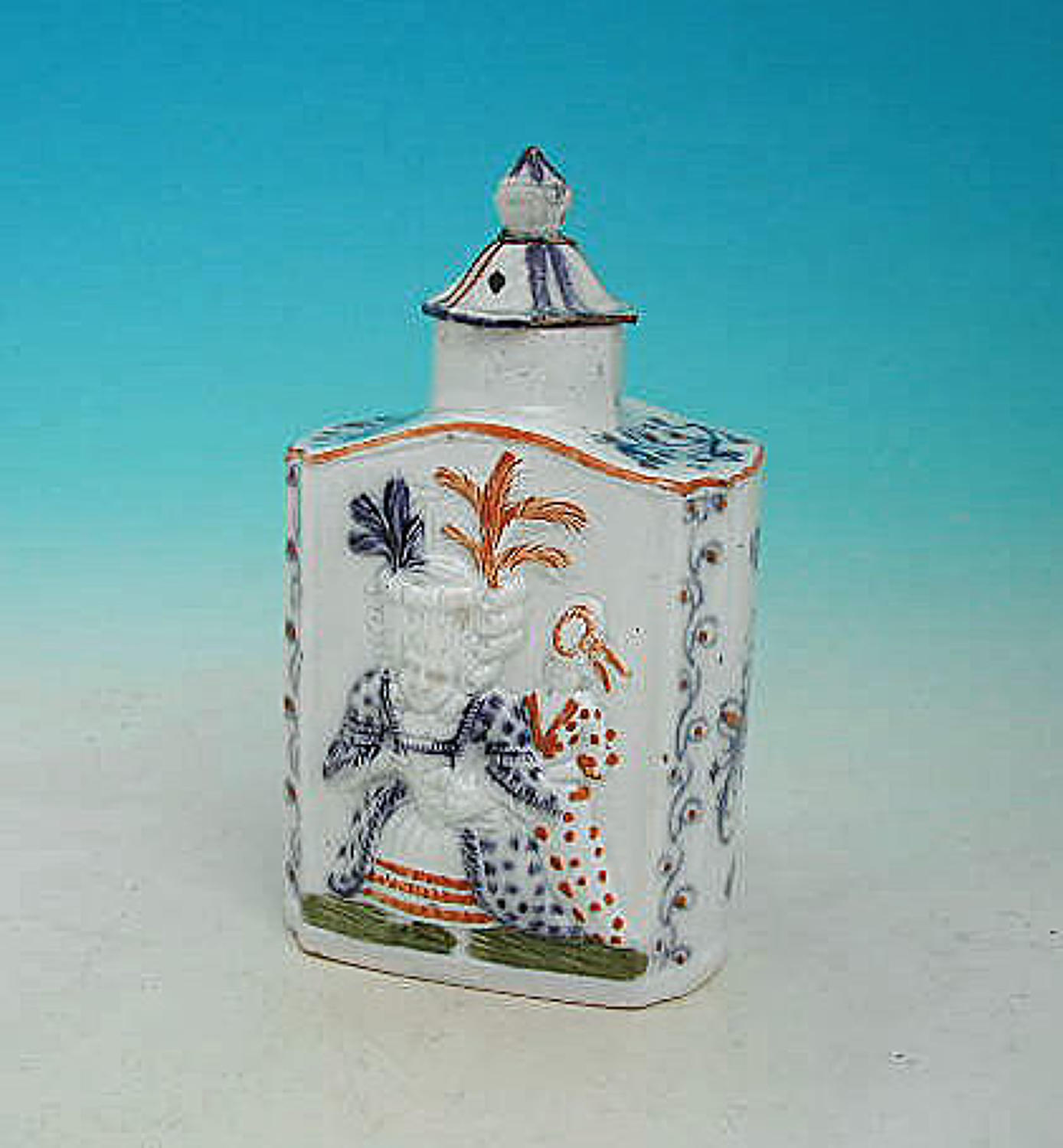 Antique 18thc Prattware Pottery Tea-Caddy. English .C1780-90.