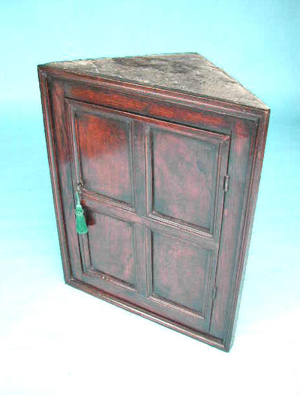 18thc Oak Furniture English Corner Cupboard Of A Small Size. C1780-90.