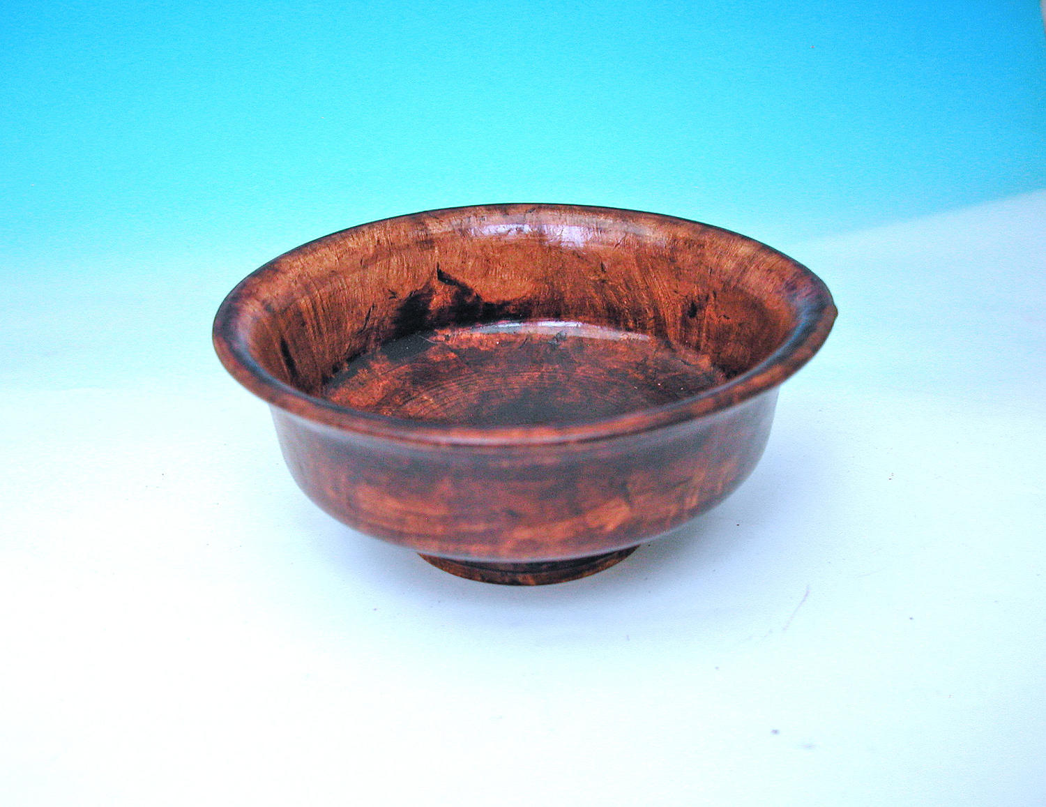 Antique Treen 19thc Mulberry Tea Bowl.   Tibetan. C1820-40