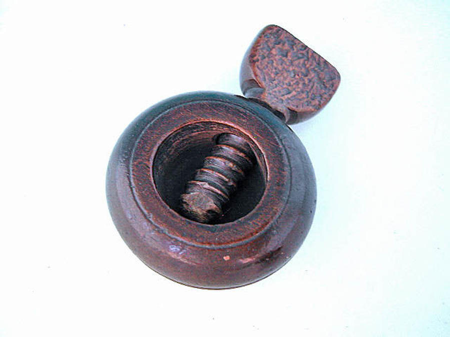 Antique 19thc Treen Beech Screw Type Nutcracker. English. C1860-80.