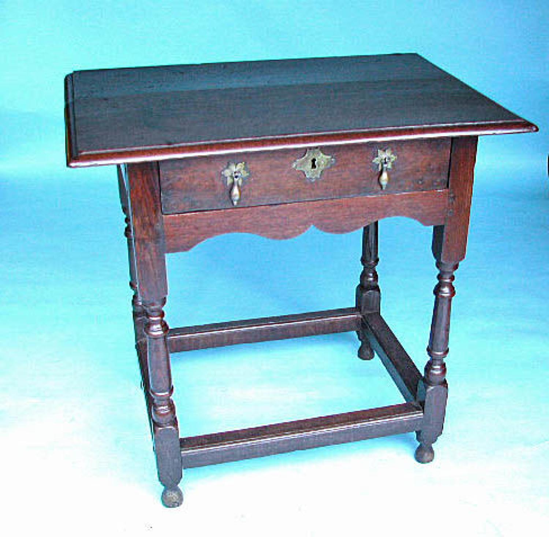 Antique 17thc Oak William & Mary Side Table.  English. C1680-90