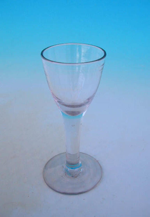 Antique 18thc English Plain Stem Wine Glass.  C1780-90.