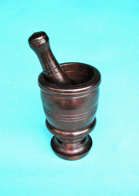 Antique 19thc Treen Lignum Vitae Pestle & Mortar.  English. C1840-60.