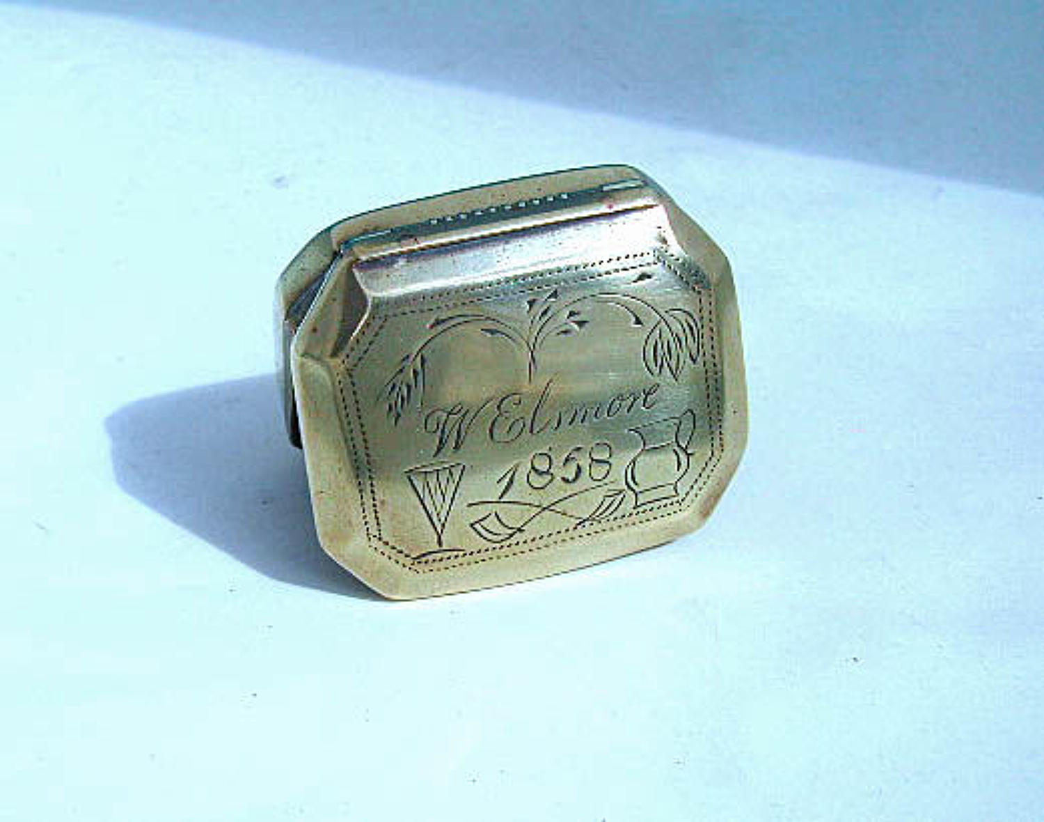 Antique Metalware Dated Brass Snuff Box Engraved W. Elsmore - 1858.