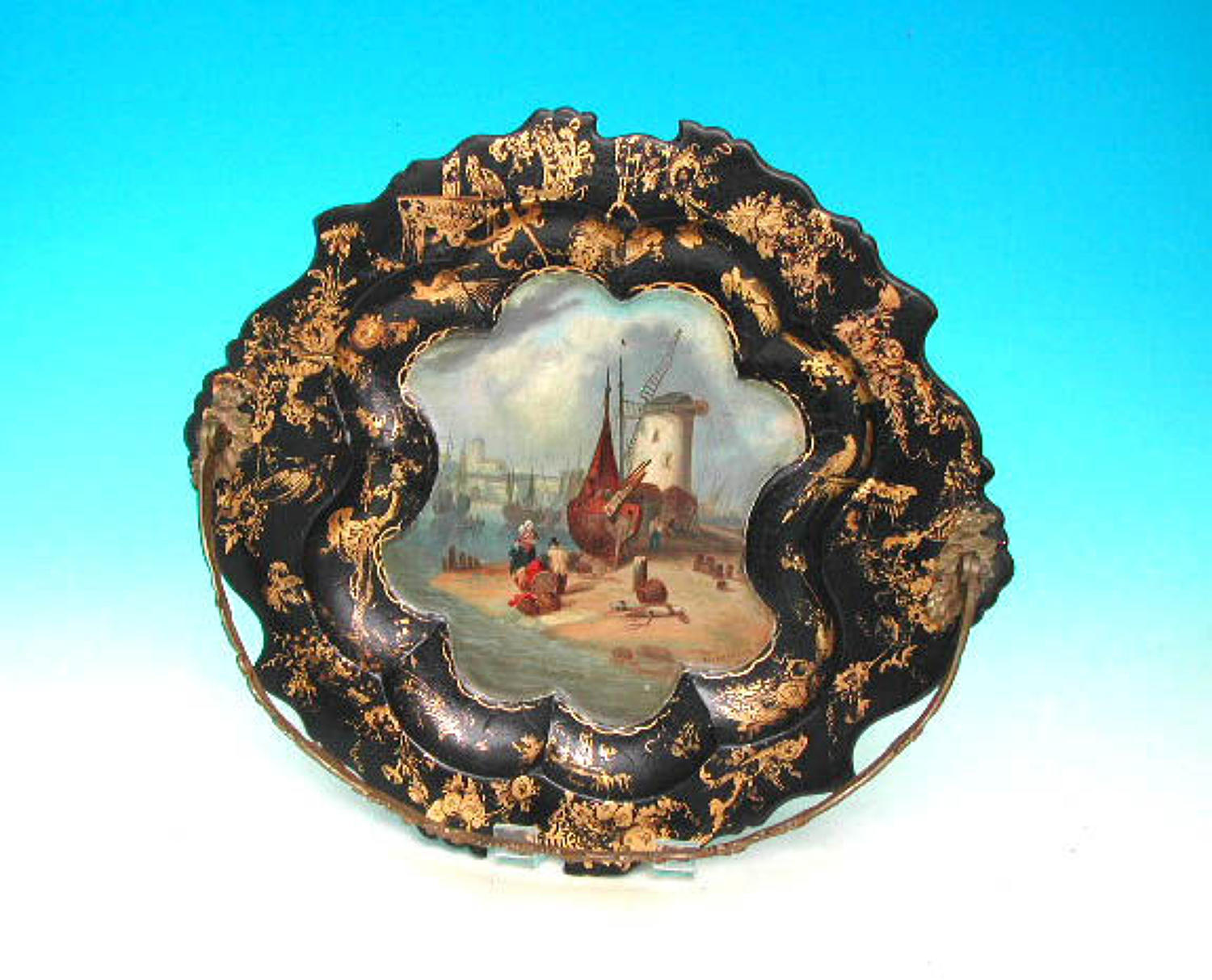 Antique 19thc Paper-Mache Basket With An Oil Painting Of Aldborough