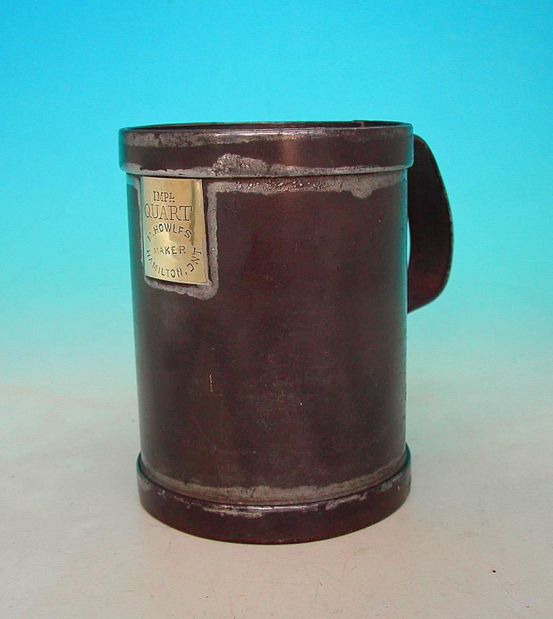 Antique Metalware 19thc Toleware Quart Grain Measure Marked Ontario.