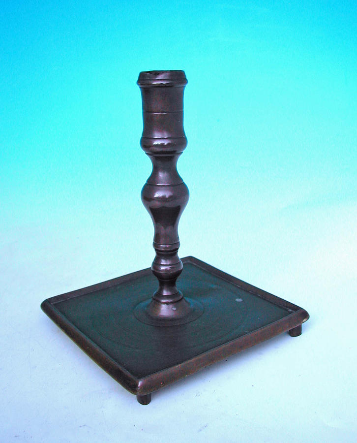 Antique Metalware 17thc Brass Candlestick On Square Base. Spanish.