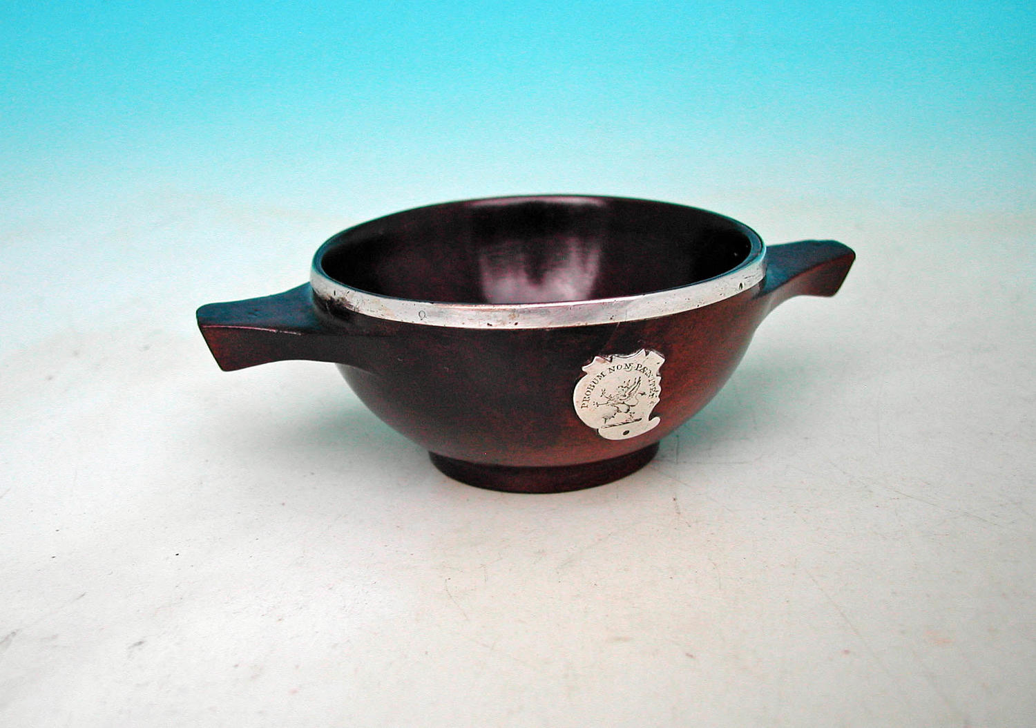 Antique 19thc Mahogany Quaich With Silver Rim and Shield.  Scottish