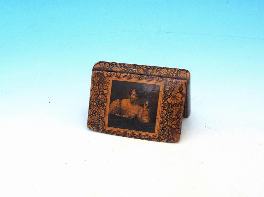 Antique 19thc Treen Pen & Ink Snuff Box .  French C1840-60.