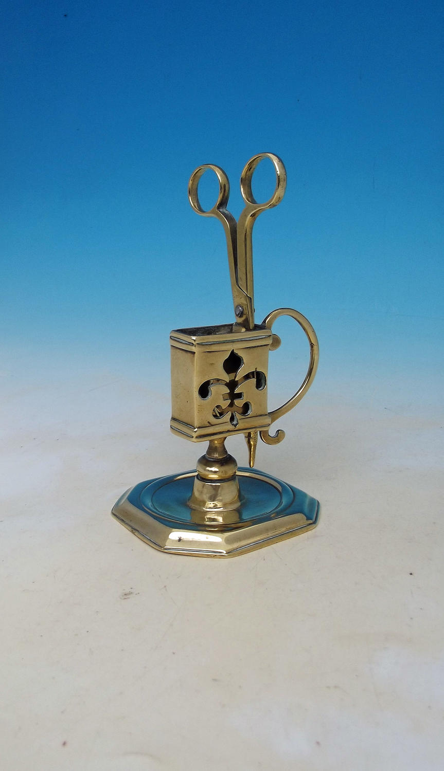 Antique 18thc Brass Candle Snuffer & Stand.  English / Continental