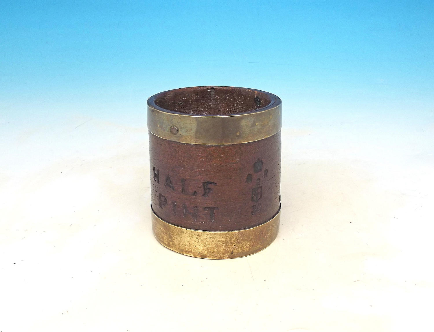 Antique 18thc Geo 11 Brass Banded Half Pint