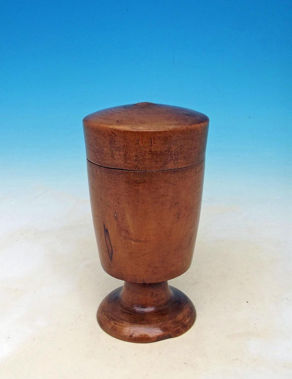 Antique Treen 19thc Fruitwood Lidded Goblet. English. C1800-20.