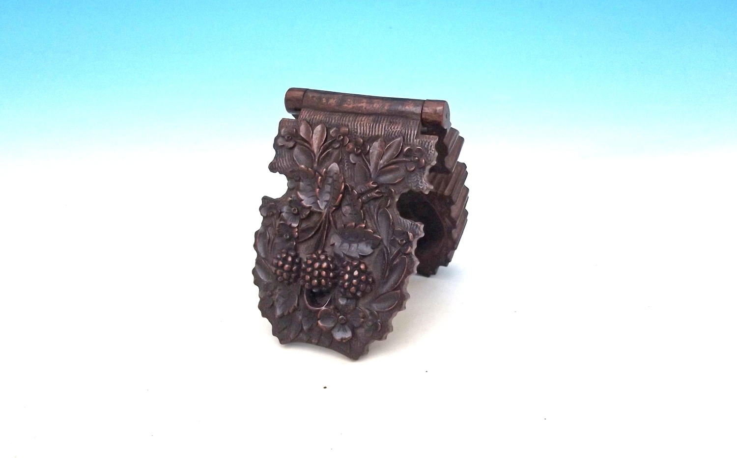 Antique Treen 19thc Fruitwood Pocket Watch Holder. Continental. C1860