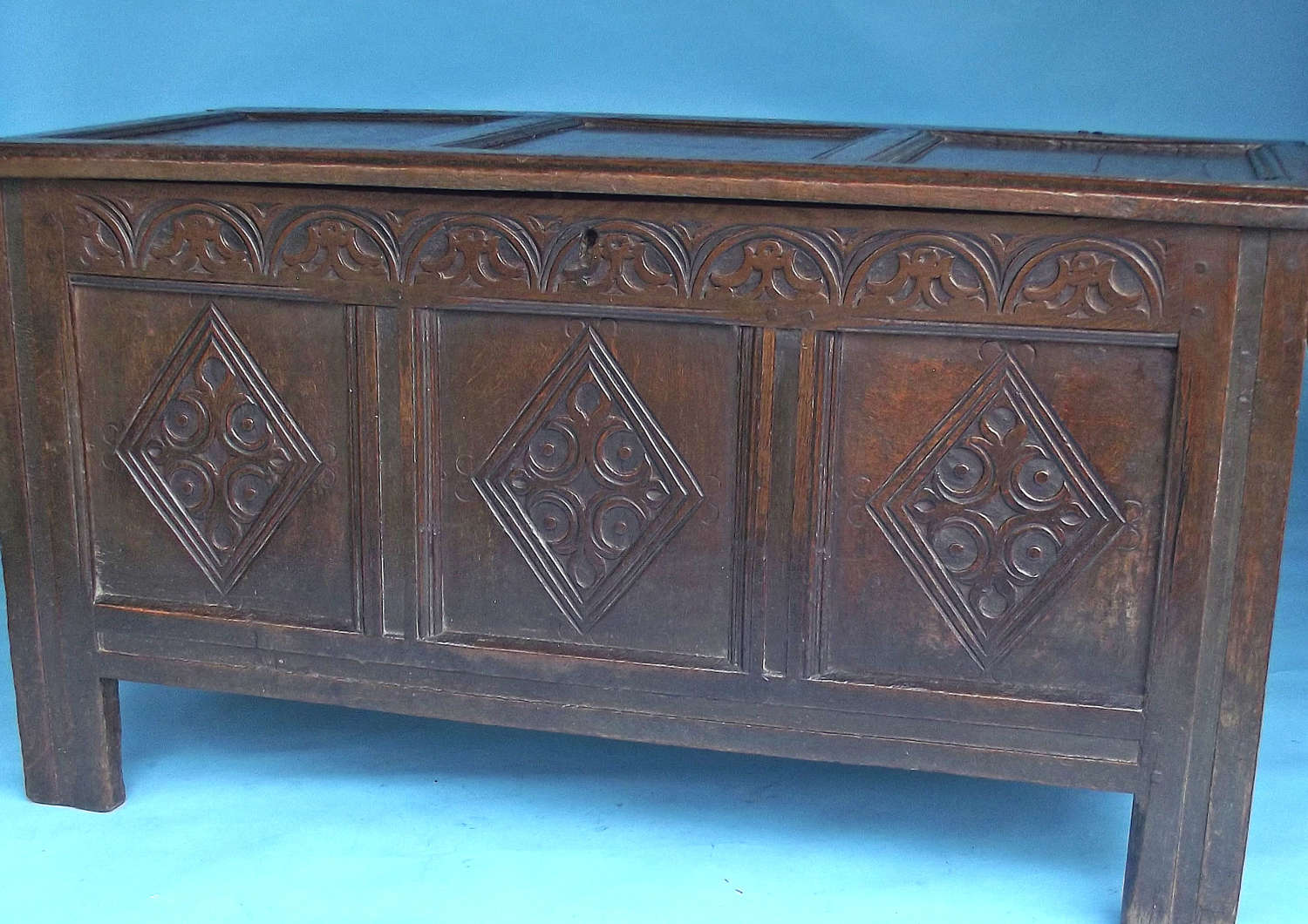 Antique Furniture Oak 17thc Joyned Charles 1 Coffer. English. C1630-45