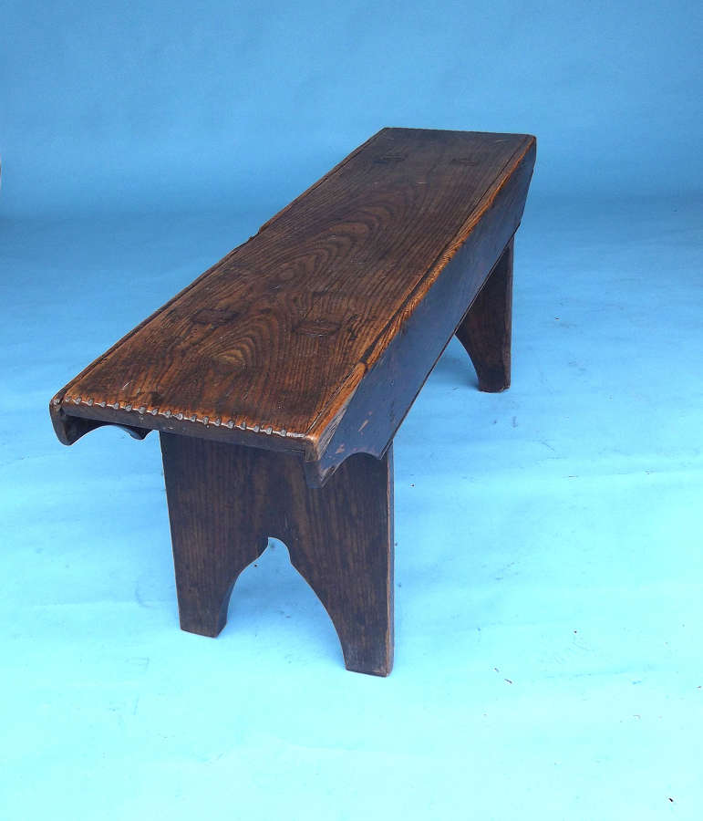Early Furniture 19thc Ash Bench With Shaped End And Boarded Side C1800