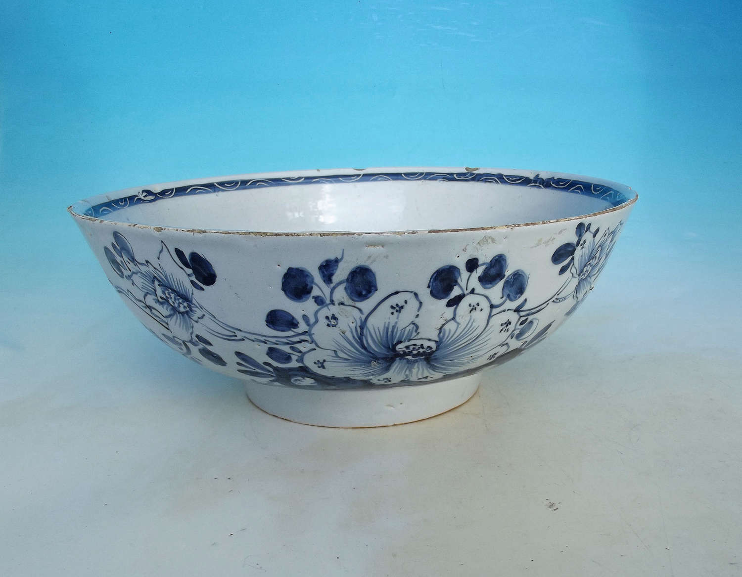 A Mid 18thc Antique Pottery Delftware Punch Bowl. English. C1740-50.