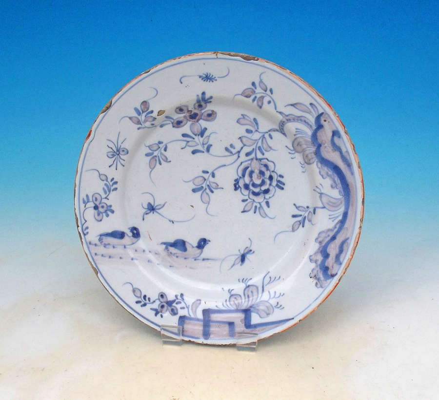 Antique Pottery 18thc Polychrome Delftware Plate. Liverpool. C1740-60.