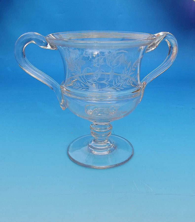 Early 19thc Glassware Engraved Loving Cup . English. C1800-20