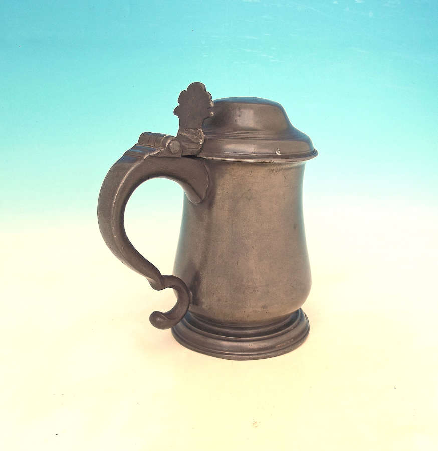 Antique Metalware 18thc Pewter Lidded Tankard. English. C1770-C1800.