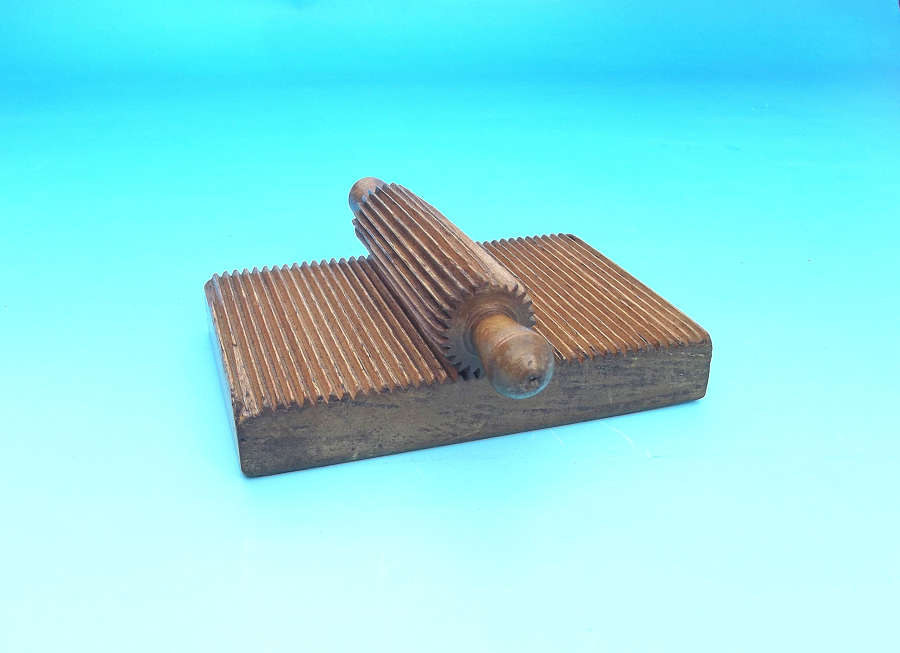 Antique 19thc Treen Beech Crimping Board & Roller.  English. C1840-60.