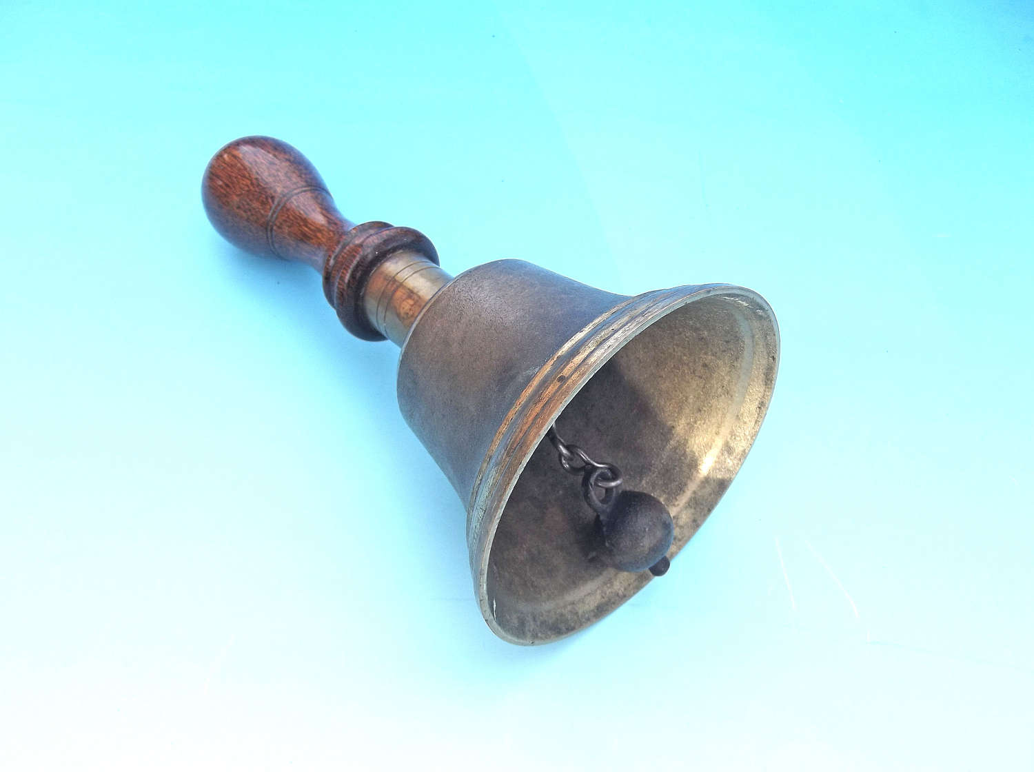 Antique 19thc Brass Hand Bell With Turned Wooden Handle. English.