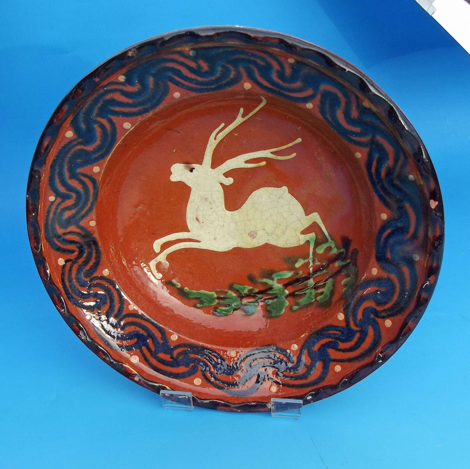 19thc Continental Pottery Slipware Tin Glazed Dish. C1840-60.