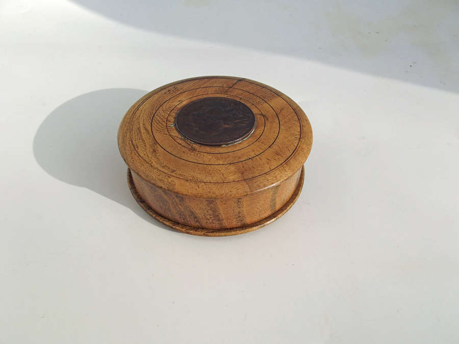 Antique Treen 19thc Elm Snuff Box With French Coin In The Lid.  French