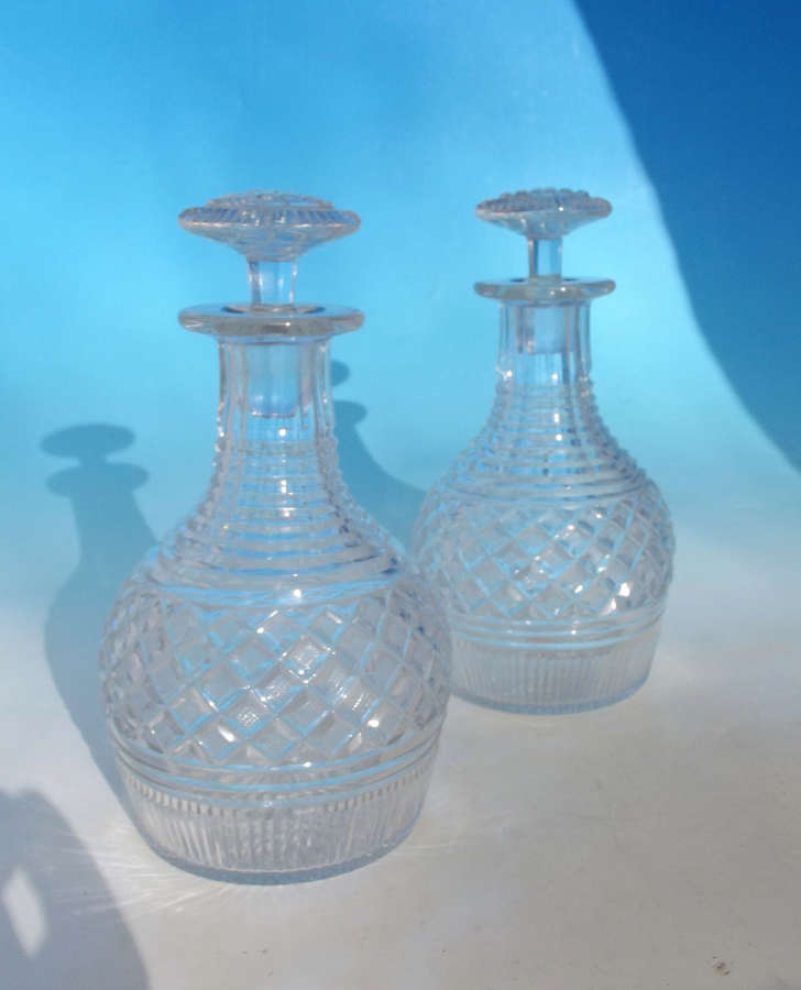 A Pair Of English Glassware Early 19thc Mallet Type Glass Decanters