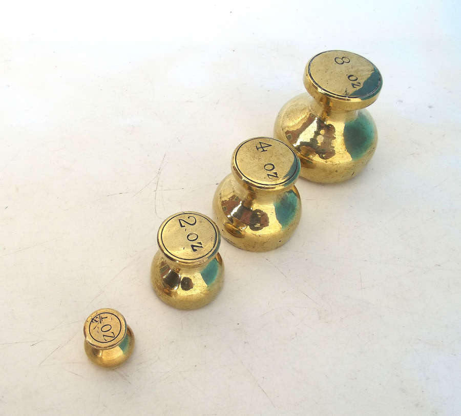 Early Brass Metalware Set Of Weights In Descending Size.  English.