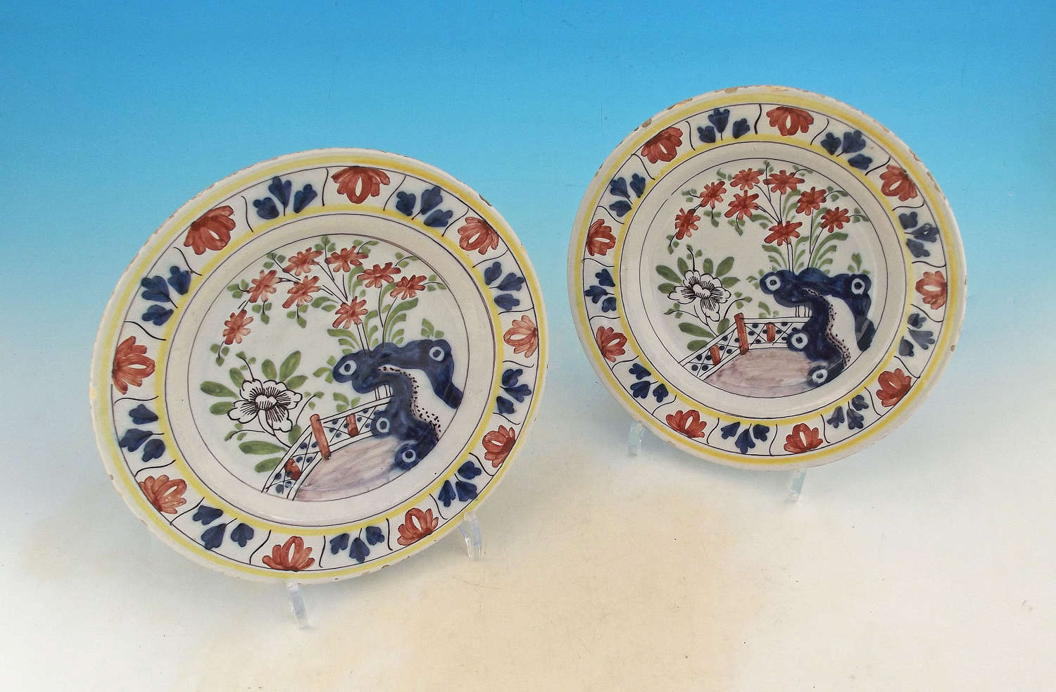 A Pair Of 18thc Polychrome Pottery Delftware Plates.  Dutch. C1770-80