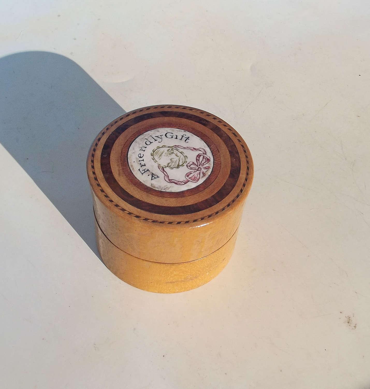18thc Turned Beechwood Treen Ladies Gift Perfume Lidded Box Dated 1796